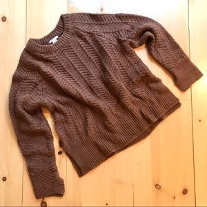 H&M Herringbone Cable Knit Brown Chunky Sweater M